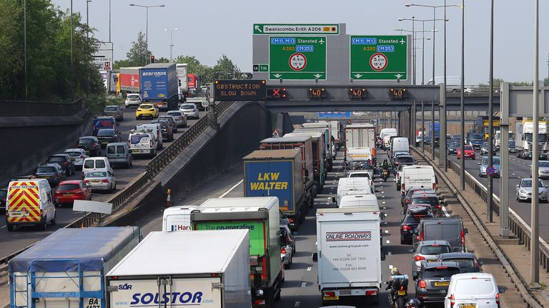 Traffic queues along the M25 in Dartford, Kent, as the bank holiday and half term rush begins.