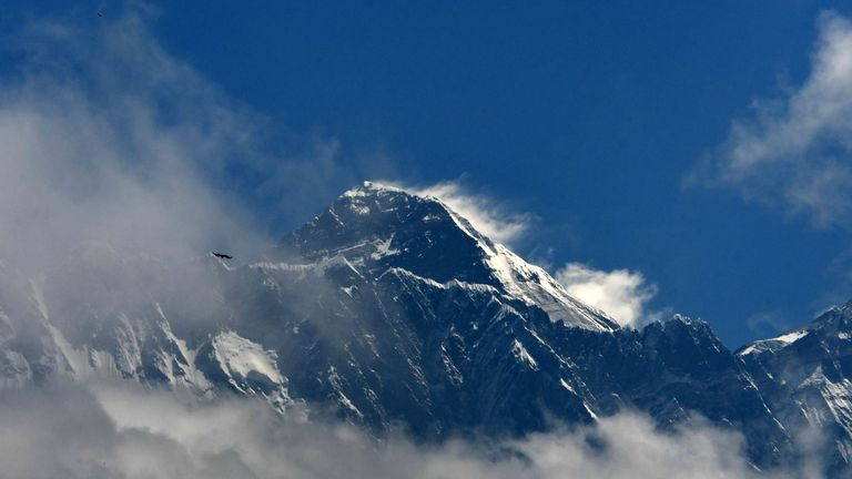 Mount Everest (height 8848 metres) is seen in the Everest region, some 140 km northeast of Kathmandu, on May 27, 2019. - Ten people have died in little more than two weeks after poor weather cut the climbing window, leaving mountaineers waiting in long queues to the summit, risking exhaustion and running out of oxygen. (Photo by PRAKASH MATHEMA / AFP)        (Photo credit should read PRAKASH MATHEMA/AFP via Getty Images)