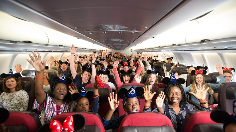 EDITORIAL USE ONLY 300 fans of Ant and Dec's Saturday Night Takeaway depart from London Gatwick on a chartered Virgin Holidays plane to celebrate the series finale which airs this Saturday April 8th.
