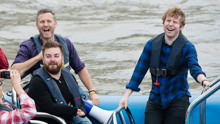 LONDON, ENGLAND - JUNE 15:  (L-R)  Adam Hills, Alex Brooker and Josh Widdicombe come alongside  Nigel Farage, leader of the UK Independence Party in a boat to ask him to be a guest on their television show 'The Last Leg' on the River Thames on June 15, 2016 in London, England.  Nigel Farage, leader of UKIP, is campaigning for the United Kingdom to leave the European Union in a referendum being held on June 23, 2016.  (Photo by Jeff Spicer/Getty Images)