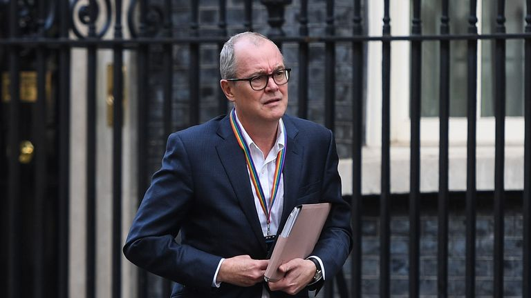LONDON, ENGLAND - MARCH 16: Chief Scientific Officer Sir Patrick Vallance leaves 10 Downing Street on March 16, 2020 in London, England. The Prime Minister announced that the UK is entering the delay phase of emergency planning. (Photo by Peter Summers/Getty Images)