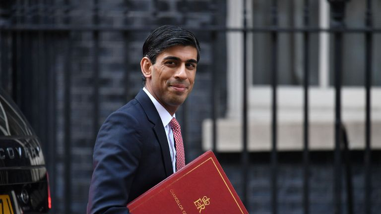Chancellor Rishi Sunak arrives in Downing Street London, ahead of a meeting of the Government's emergency committee Cobra to discuss coronavirus.