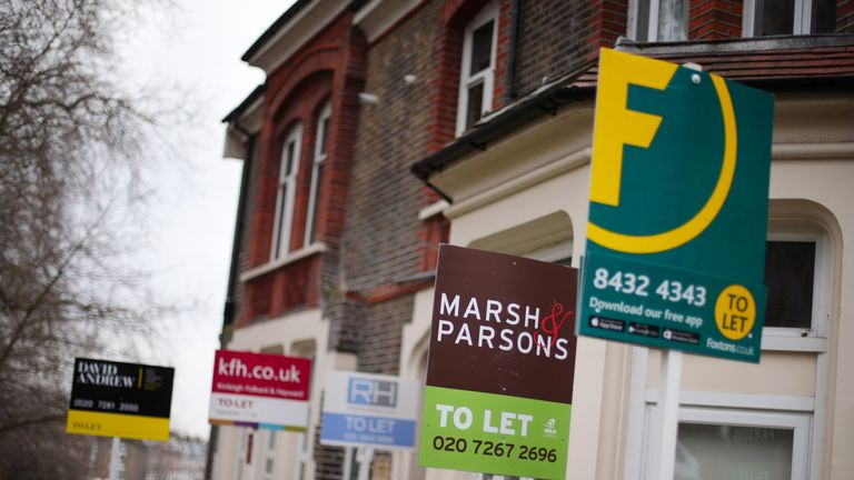 File photo dated 08/02/17 of a row of To Let estate agent signs placed outside houses in north London. The gap is greatest in London, where home owners could find themselves 18% better off typically, adding up to savings of 3,727 per year, Halifax said.
