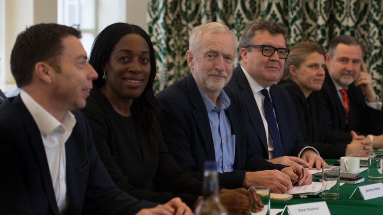Labour leader Jeremy Corbyn (centre) with (left to right) Iain McNicol, Kate Osamor, Tom Watson, Rachael Maskell and Barry Gardiner at a shadow cabinet meeting in the Houses of Parliament, London.