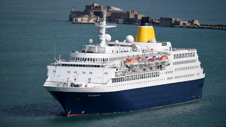 PORTLAND, ENGLAND - MARCH 14: The cruise ship Saga Sapphire sails into Portland Port on March 14, 2020 in Portland, United Kingdom. Fears over the spread of COVID-19 (Coronavirus) has caused a number of cruise companies including Saga to suspend their cruise operations. (Photo by Finnbarr Webster/Getty Images)