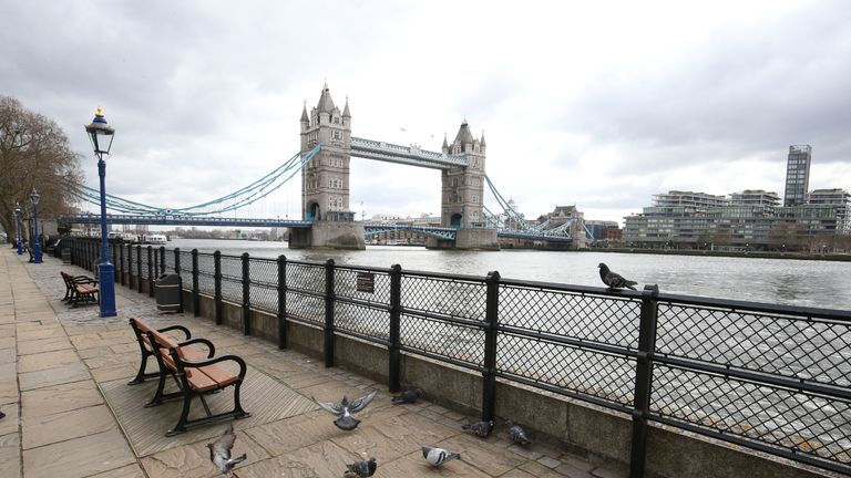 A quiet London street by the Tower Bridge, as the UK's coronavirus death toll reached 144 as of 1pm on Thursday, with around four in 10 of all deaths so far in London.