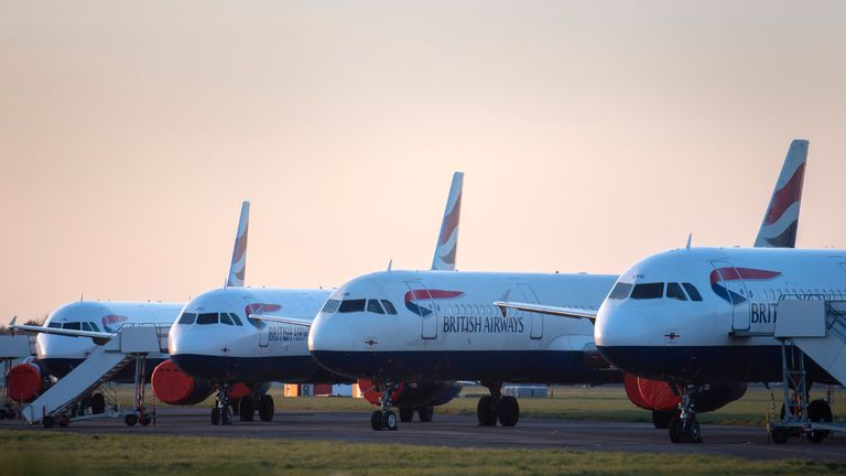 British Airways aircraft parked at Bournemouth airport where they are expected to remain after the airline reduced flights amid travel restrictions and a huge drop in demand as a result of the coronavirus pandemic.