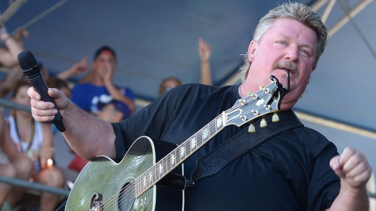 "MANHATTAN, KS - JUNE 28: Singer/Songwriter Joe Diffie performs during ""Kicker Country Stampede"" at Tuttle Creek State Park on June 28, 2014 in Manhattan, Kansas. (Photo by Rick Diamond/Getty Images for Neste Event Marketing)"