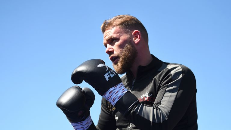 STEVENAGE, ENGLAND - MAY 04: Billy Joe Saunders takes part in a workout session at The Lamex Stadium on May 04, 2019 in Stevenage, England. (Photo by Nathan Stirk/Getty Images)