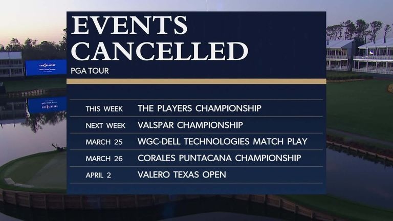 Nick Dougherty takes a look at the tournaments either postponed or cancelled across golf's main tours, a result of the coronavirus outbreak.