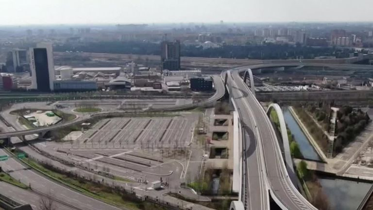 Coronavirus: Drone footage from Italy shows empty roads amid ...