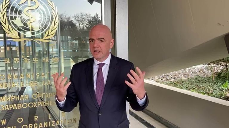 FIFA President Gianni Infantino says the football community must work together to help beat coronavirus