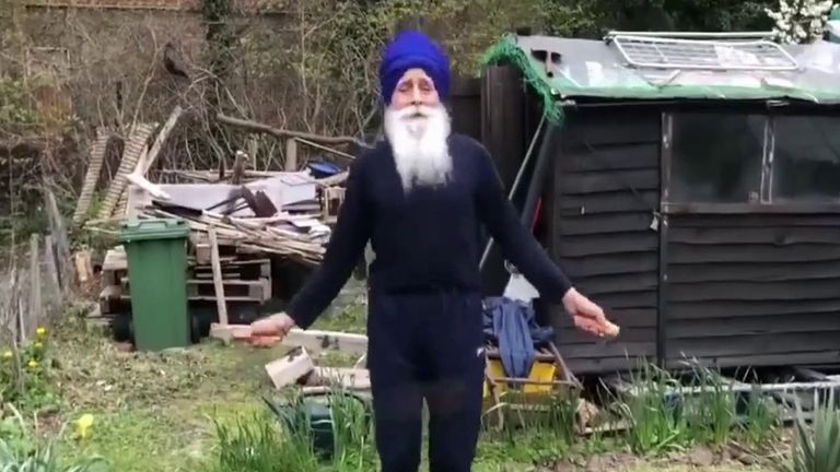73-year-old Rajinder Singh finds a way to exercise at his allotment