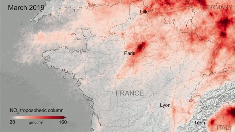 Air pollution has decreased in urban areas across Europe during lockdowns to combat the coronavirus, new satellite images show. France more polluted before pandemic