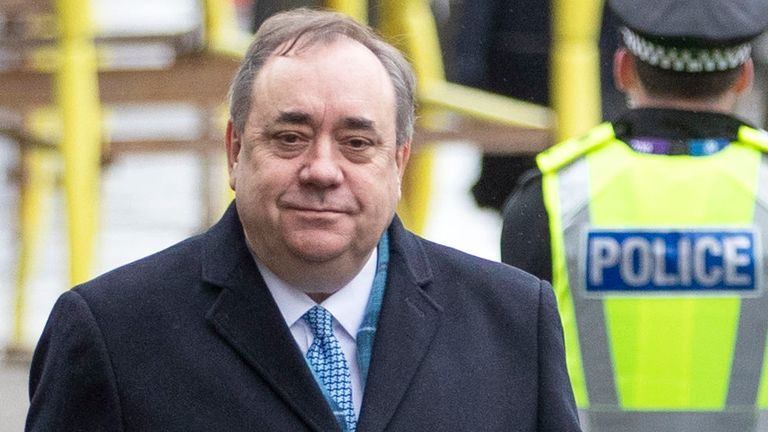 PICTURE ADVISORY. Editors of newspapers printed or that have editions circulating in Scotland and all Internet subscribers or broadcasters whose content is visible in Scotland are advised to seek legal advice before publication of this photograph as, under Scottish Law, the use of a picture of an untried person may be held to be in Contempt of Court. Former Scottish first minister Alex Salmond arrives at the High Court in Edinburgh for the second day of his trial over accusations of sexual assau