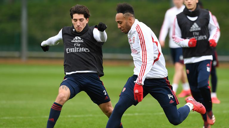 Arsenal players train at London Colney