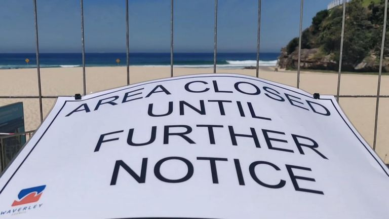 "Several of Sydney's most popular beaches were closed on Sunday, March 22, after visitors ignored warnings to practice ""social distancing"" to stop the spread of the deadly coronavirus on previous days."