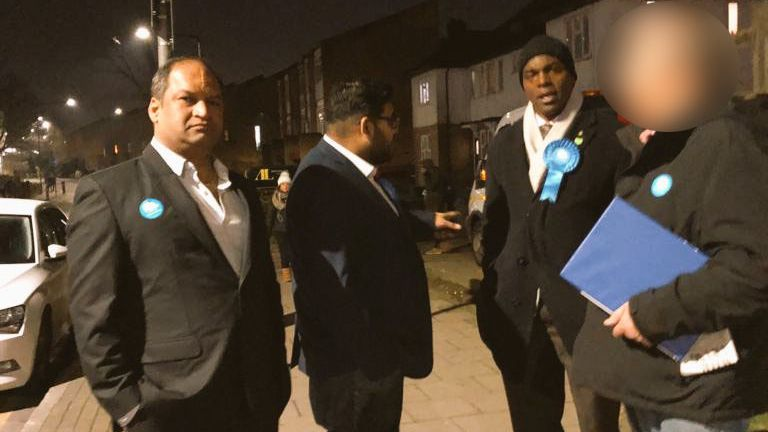 Mr Dokwal is pictured on the left campaigning with Mr Bailey