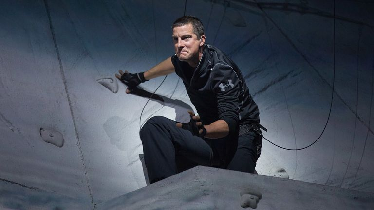 "LONDON, ENGLAND - OCTOBER 07: Bear Grylls performs at the ""Bear Grylls: Endeavour"" at SSE Arena Wembley on October 7, 2016 in London, England. (Photo by Dave J Hogan/Dave J Hogan/Getty Images)"