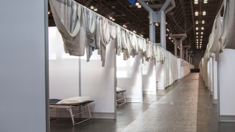 Makeshift hospital rooms at the Jacob Javits Convention Center in New York