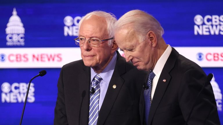 Bernie Sanders and Joe Biden are the front runners for the Democratic Party nomination