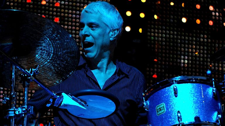 Drummer Bill Rieflin of REM performs at Old Trafford on August 24, 2008 in Manchester, England