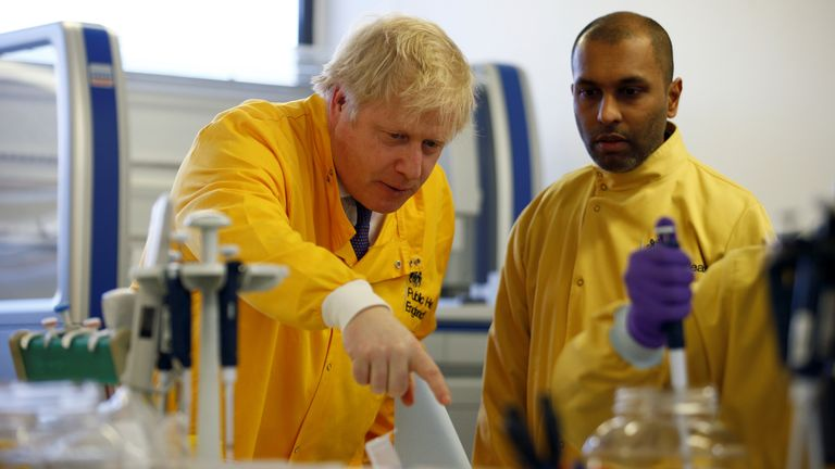 Boris Johnson visited PHE's National Infection Service in north London on Sunday