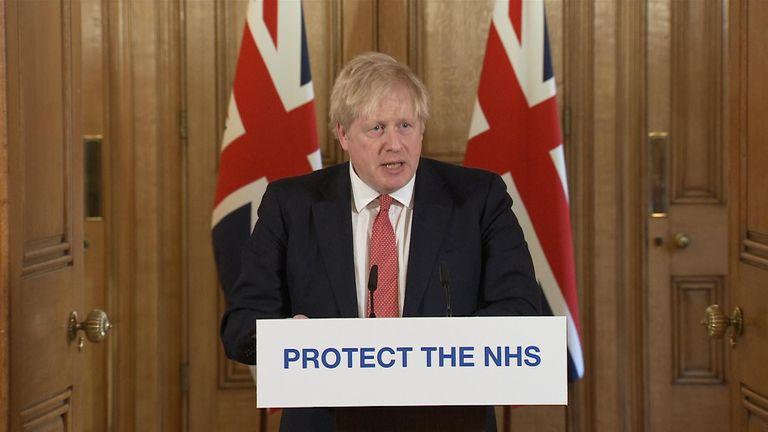 Boris Johnson addresses the nation for the daily coronavirus briefing on 22/03/2020