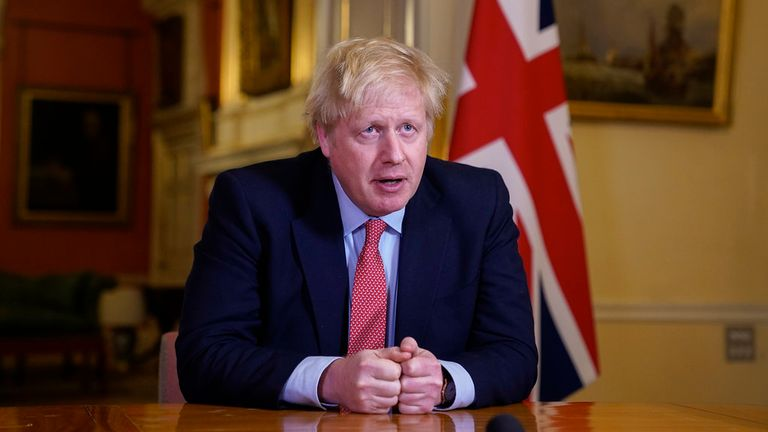 Boris Johnson gave his address from Downing Street. Pic: Andrew Parsons