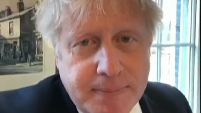 Boris Johnson in video message from quarantine