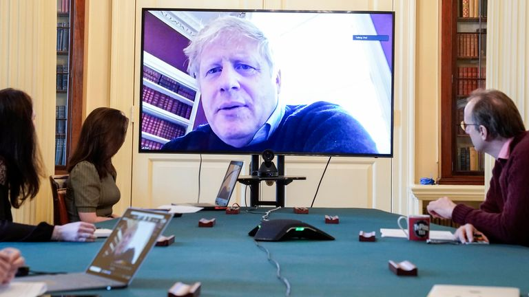 Embargoed until 5pm no Online.. 28/03/2020. London, United Kingdom. Boris Johnson chairs the morning Covid-19 Meeting. The Prime Minister Boris Johnson chairs the morning update meeting on the Coronavirus remotely from No11 Downing Street, after self isolating after testing  positive for the Coronavirus. Picture by Andrew Parsons / No 10 Downing Street