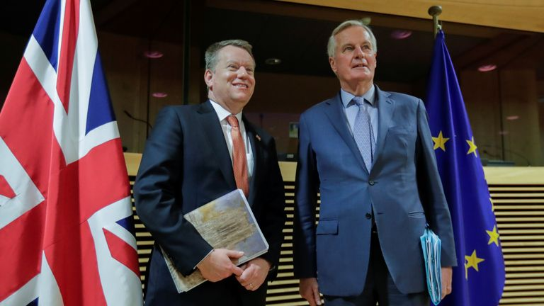 European Union chief Brexit negotiator Michel Barnier and British Prime Minister's Europe adviser David Frost are seen at start of the first round of post-Brexit trade deal talks