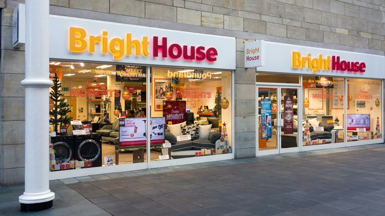 KHCC0R A Bright House store in St Nicholas Arcade shopping centre, Lancaster, UK, selling items on rent to own