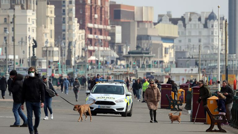 Some people walked their dogs during the first weekend of the government's measures