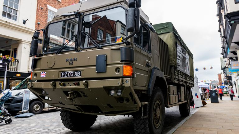 CHESTER, UK - 26TH JUNE 2019: An army HX60 4x4 truck stationed in Chester City to recruit for the British Army - Image ID: W113GN (RF)