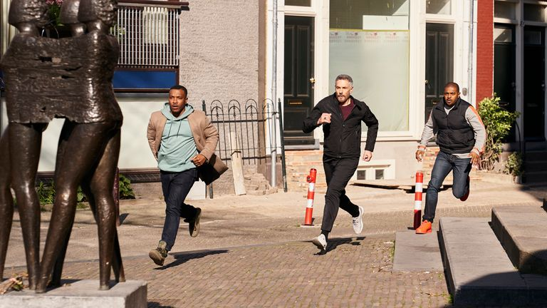 Noel Clarke as Bishop, Ashley Walters as Pike and Stavros Zalmas as Alex Markides in Bulletproof. Pic: ©Sky UK Ltd