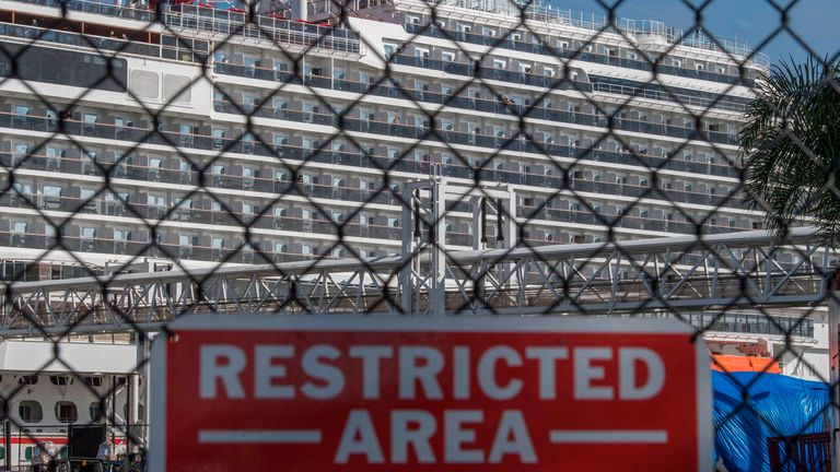 A Carnival Parnorama cruise ship is seen docked in Long Beach, California on March 7, 2020, as passengers await onboard for the results of a COVID-19 (Coronavirus) test given to an ill passenger.