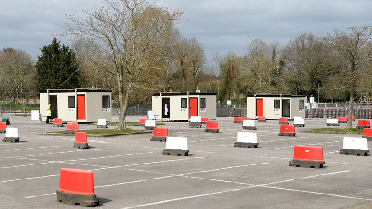 Testing cabins have been set up in a car park at Chessington World of Adventures