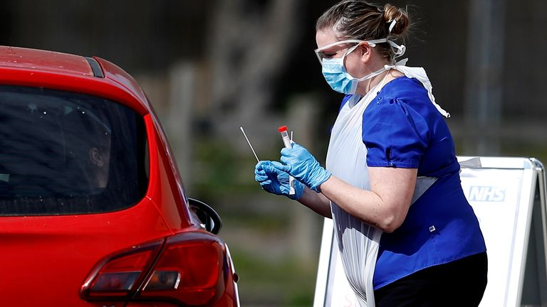 Nurses are taking swabs from NHS staff who remain in their cars at Chessington