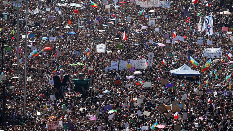 Huge crowds filled the streets in Chile