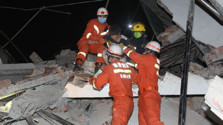 Authorities posted photos of the rescue operation. Pic: Weibo/Emergency Management Department