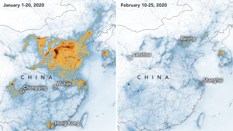 Satellite images show nitrogen dioxide levels have fallen over China. Pic: NASA