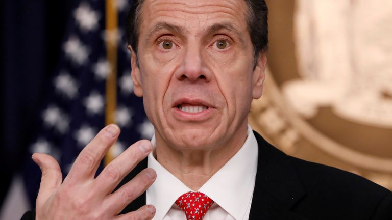 FILE PHOTO: New York Governor Andrew Cuomo delivers remarks at a news conference regarding the first confirmed case of coronavirus in New York State in Manhattan borough of New York City, New York, U.S., March 2, 2020. REUTERS/Andrew Kelly/File Photo