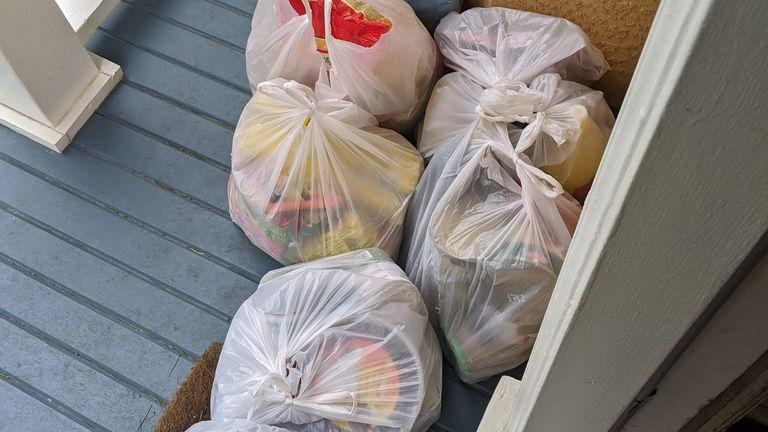 The family left eight bags of food for Ms Stevenson