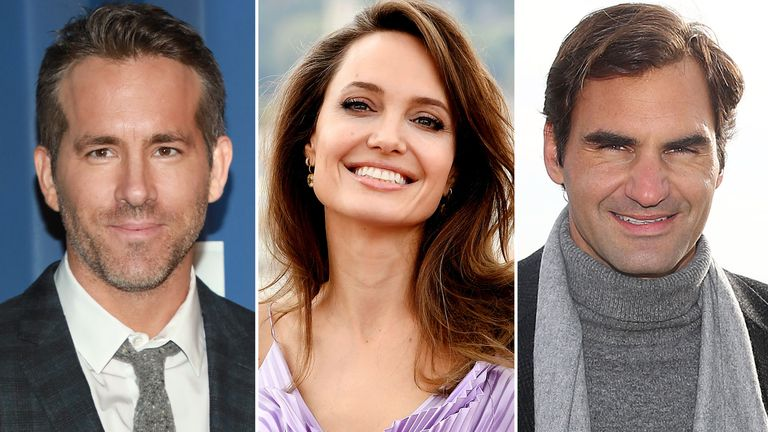 Ryan Reynolds, Angelina Jolie and Roger Federer