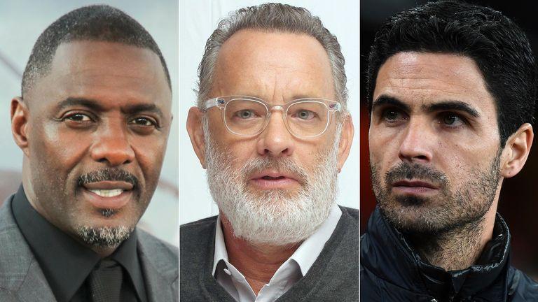 Idris Elba, Tom Hanks and Mikel Arteta. Pics: Chelsea Lauren/Startraks Photo/Shutterstock/ David Price/Arsenal FC