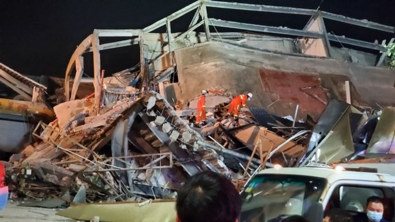 The collapse happened in the city of Quanzhou. Pic: Weibo/Emergency Management Department