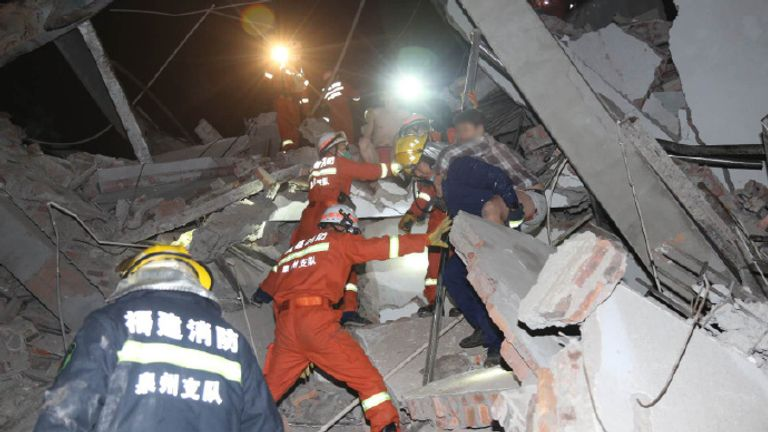 About 70 people were trapped. Pic: Weibo/Emergency Management Department