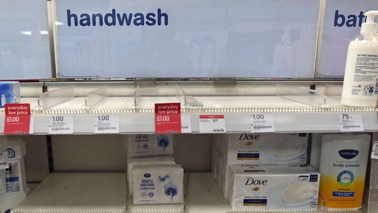 As uncertainty over Coronavirus continues Boots sells out of handwash at Victoria Station in London