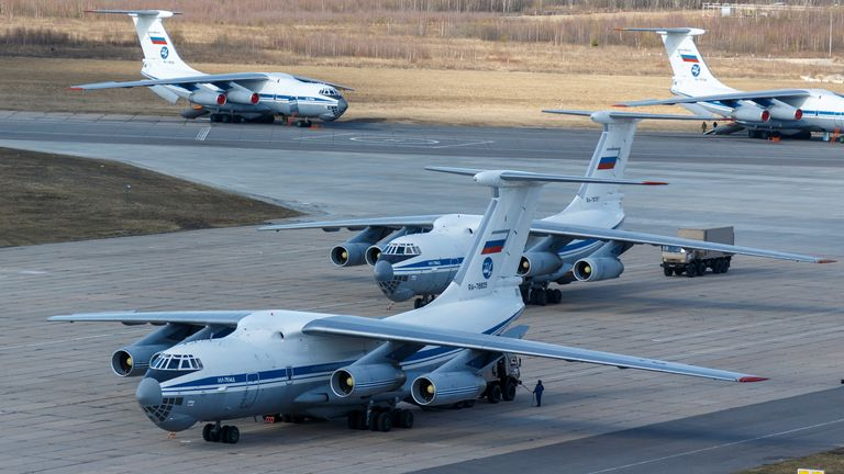 Russia's military is sending cargo planes with medical  equipment and special disinfection to Italy